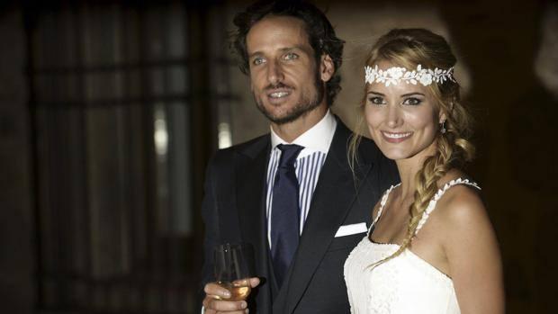 Feliciano Lopez e Alba Carrillo il giorno del matrimonio, nel luglio 2015