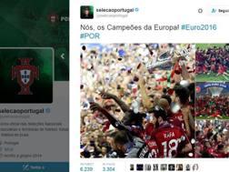 Il profilo twitter della Federazione portoghese festeggia la vittoria.