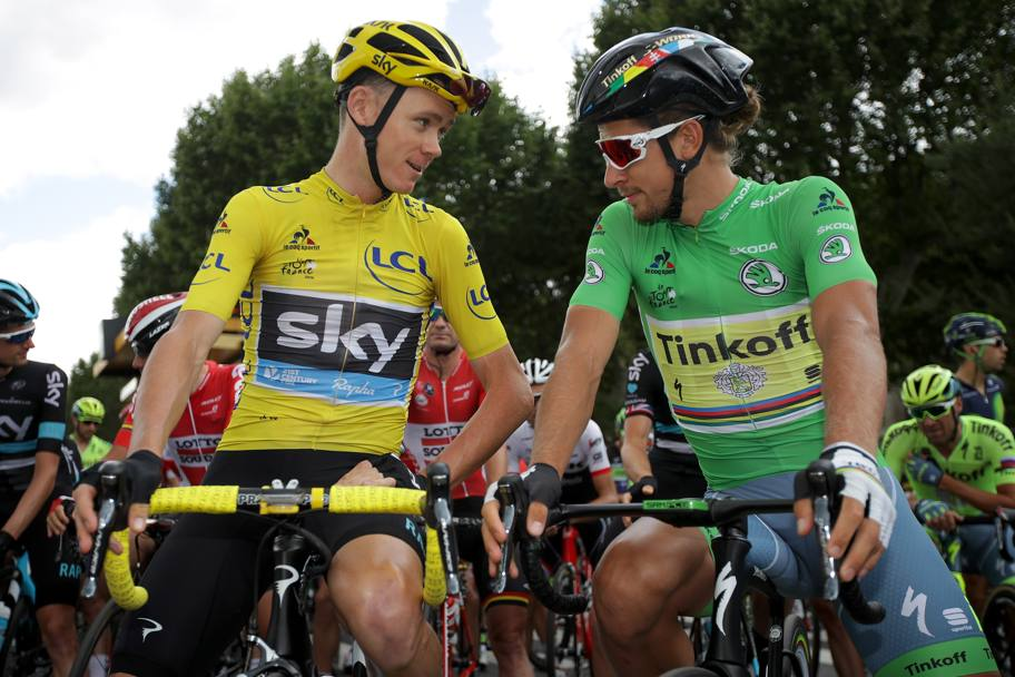 Chris Froome e Peter Sagan accanto alla partenza dell'11esima tappa del Tour del France, Caracassonne-Montpellier. Getty