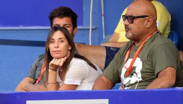 Flavia Pennetta, accanto al suocero Fulvoi Fognini, assiste al match del marito. Plpress