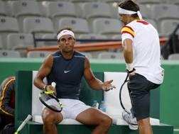 Rafael Nadal e David Ferrer si allenano a Rio. Epa
