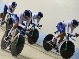 Il quartetto azzurro nell'inseguimento a squadre pista. Ap