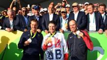 Il podio olimpico del golf, al ritorno ai Giochi dopo 112 anni. Getty Images