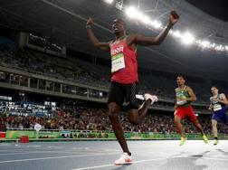 L'arrivo trionfale di Rudisha nella finale degli 800 metri. Getty