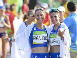 Elisa Rigaudo e Antonella Palmisano al traguardo. Ansa