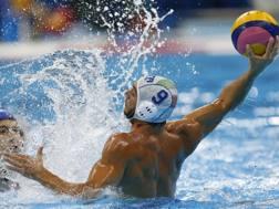 Christian Presciutti in azione nella semifinale persa dall'Italia contro la Serbia. Lapresse