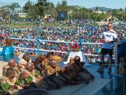 Ben Ryan omaggiato a Suva dopo il trionfo. Afp