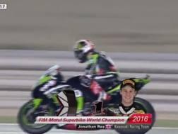 Jonathan Rea in azione sulla sua Kawasaki