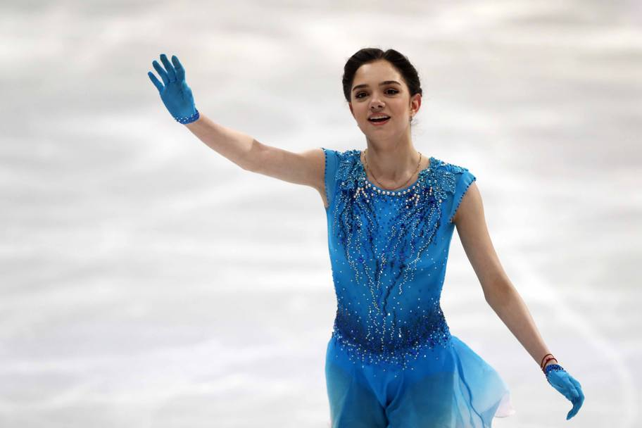 La russa Evgenia Medvedeva, leader in classifica nel corto donne: l'ultimo podio tutto europeo risale al 1969  (LaPresse)