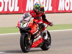 Chaz Davies vincitore di gara 2 ad Aragon con la Ducati. Lapresse