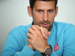 Novak Djokovic in conferenza stampa. Getty