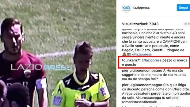 tounkara totti roma-lazio derby insulti instagram