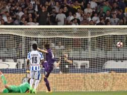 Il gol del vantaggio del Pescara. Ansa