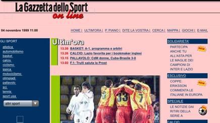 Una vecchia homepage del 1999