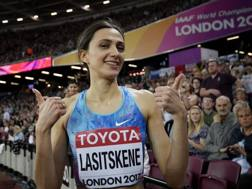 Maria Lasitskene, 24 anni, dopo l'oro mondiale dell'alto conquistato a Londra REUTERS