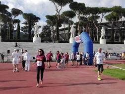 La manifestazione romana di ieri mattina allo stadio Pietro Mennea