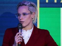 Federica Pellegrini, con il suo nuovo look biondo platino. Getty