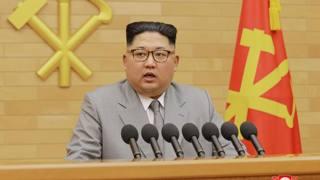 Il leader coreano Kim Joung'-un durante il discorso alla nazione. Ap