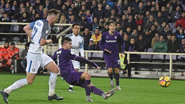 Il gol di Simeone, arrivato al 91'. Ansa