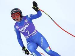Sofia Goggia al traguardo di Cortina. Ap