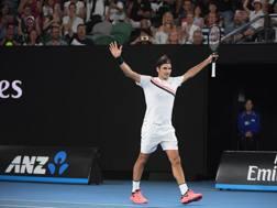 Roger Federer, 36 anni, non ha ancora perso un set in questa edizione. Epa