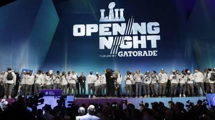 Gli Eagles sul palco dell'Opening Night. Ap