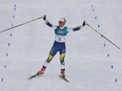 Charlotte Kalla, primo oro olimpico a PyeongChang 2018. Afp