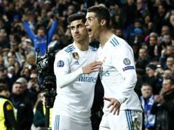 Marco Asensio e Cristiano Ronaldo esultano dopo il secondo gol segnato da CR7 al Psg.