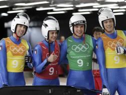 I 4 azzurri prima del via: Ivan Nagler, Andrea Voetter, Dominik Fischnaller e Fabian Malleier. Ap