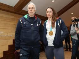 Sofia Goggia con la medaglia e il presidente del Coni Giovanni Malagò ANSA