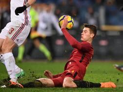 Schick in azione durante Roma-Milan. LaPresse