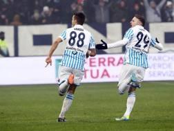 L'esultanza di Grassi dopo il gol. Ansa
