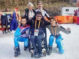 Giacomo Bertagnolli e Fabrizio Casal col presidente CIP, Pancalli, il segretario Juri Stara e il presidente della FISIP, Tiziana Nasi