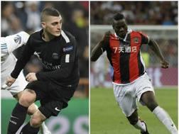 Marco Verratti, 25 anni, centrocampista del Psg, e Mario Balotelli, 27 anni, attaccante del Nizza.