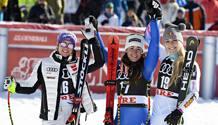 La tedesca Viktoria Rebensburg, 2ª, Sofia Goggia, 25 anni e Lindsey Vonn. Getty Images