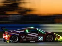 La Ferrari 488 Gt3 del team Spirit of Race che ha conquistato il miglior tempo tra le Gt durante le qualifiche di Sebring