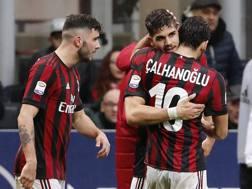 I tre marcatori del Milan: Cutrone, Calhanoglu e André Silva. AP