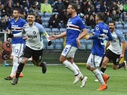 Mauro Icardi festeggia il terzo gol personale della giornata. Getty