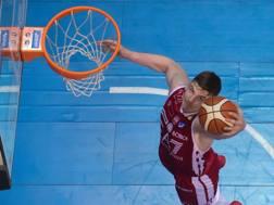 Arturas Gudaitis, 24 anni, centro lituano dell'Olimpia Milano, top scorer dell'AX nella sconfitta in casa dello Zalgiris CIAM
