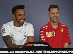 Lewis Hamilton e Sebastian Vettel in conferenza stampa. Afp