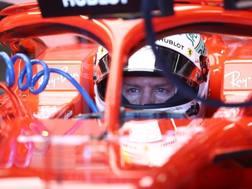 Sebastian Vettel nell'abitacolo della sua Ferrari. Getty