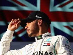 Lewis Hamilton non del tutto contento sul podio di Melbourne. Getty