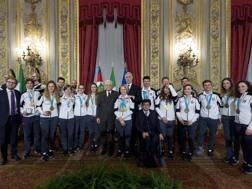 Gli azzurri con Sergio Mattarella ANSA