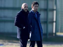 Il d.s. dell'Inter Piero Ausilio,45 anni, e Steven Zhang, 26 anni, figlio di Zhang Jindong. Getty