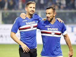 Gaston Ramirez, 27 annie, e Fabio Quagliarella, 35 anni, dopo il derby al Ferraris. Lapresse