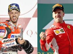 Andrea Dovizioso e Sebastian Vettel. Epa/Getty