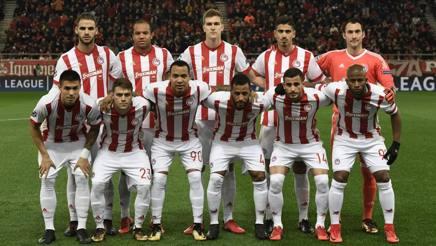 La formazione dell'Olympiacos che ha affrontato la Juve in Champions, il 5 dicembre 2017.