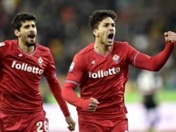 La gioia di Simeone per la rete dello 0-2 all'Udinese. Lapresse