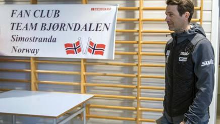 Ole Bjeorndalen oggi alla conferenza stampa in cui ha annunciato il ritiro. Ap