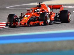 Sebastian Vettel in azione in Bahrain. Afp